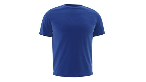 T-shirt blue mens with short sleeves, alpha channel. 3D animation loop