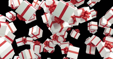 White gift boxes wrapped with red ribbons are falling on black background. Great use for promotion and christmas related concepts. Loop ready. Luma matte is included. High quality 4K render