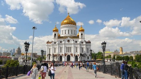Moving clouds time-lapse Cathedral of Christ the Saviour. Center of Moscow Russia. Epic professional hyperlapse 4K footage. Beautiful sunny day.