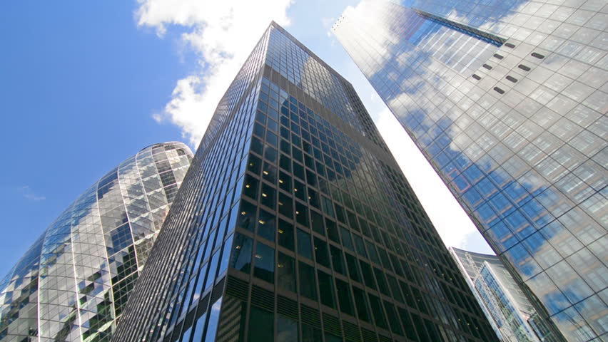 sunny day home office. gherkin building and city skyline on a sunny day home office