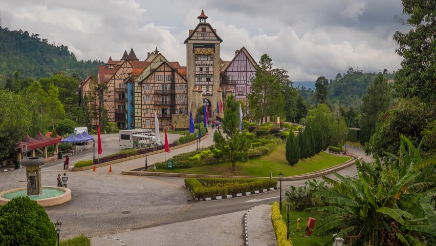 Pahang, Malaysia - 8 august 2016 : Time lapse at Entrance of Colmar Tropicale, Malaysia A french themed resort, which is a replica of a 16th Century French Village in Bukit Tinggi, Malaysia. | Shutterstock HD Video #20668789