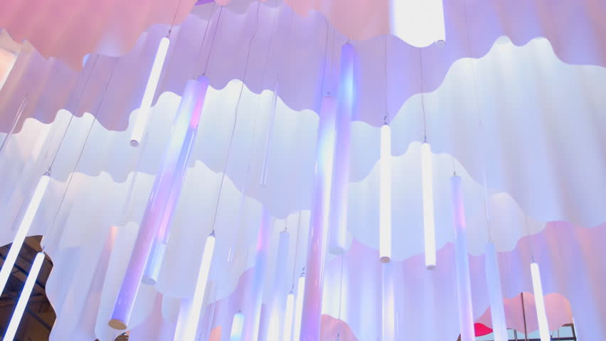 Beautiful, unusual, fantastic lighting fixtures as chandeliers - HD stock footage clip