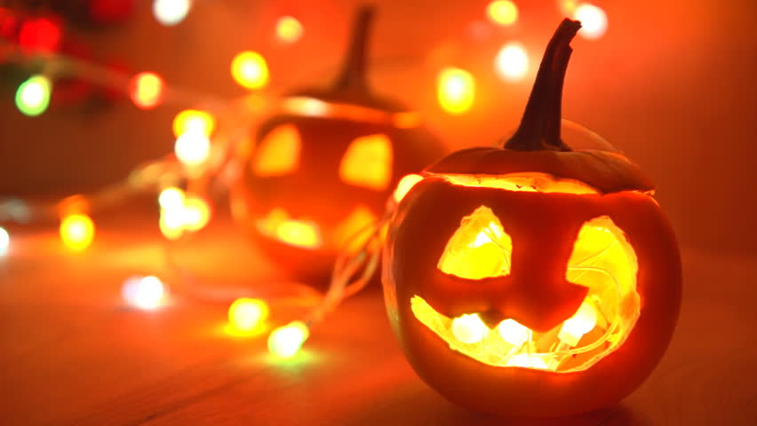 Scary Halloween Pumpkins Jack-o-lantern Candle Lit. Autumn