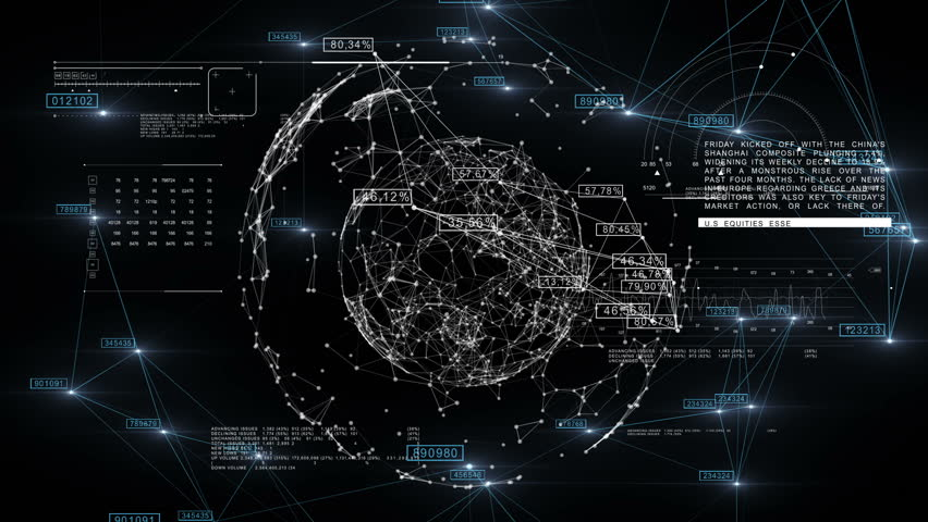 Global Business Network with Numbers rotating in Space. 3d seamless animation of Technology Concept. Looped. HD 1080.