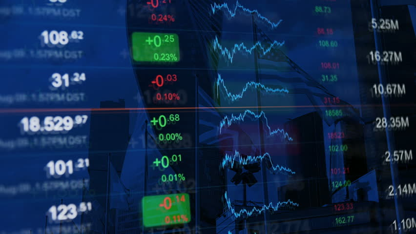 Financial background, finance, financial markets, business concept pattern. Numbers and chart at background of financial buildings. Dark blue background for market news, business and financial themes. | Shutterstock HD Video #20769238