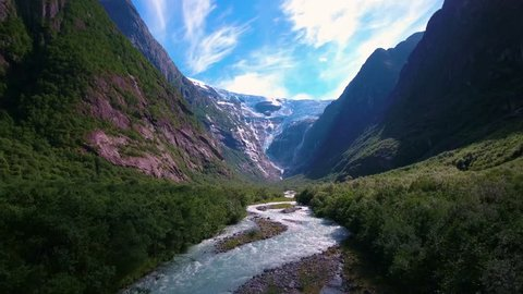 Beautiful Nature Norway natural landscape. Glacier Kjenndalsbreen aerial footage.