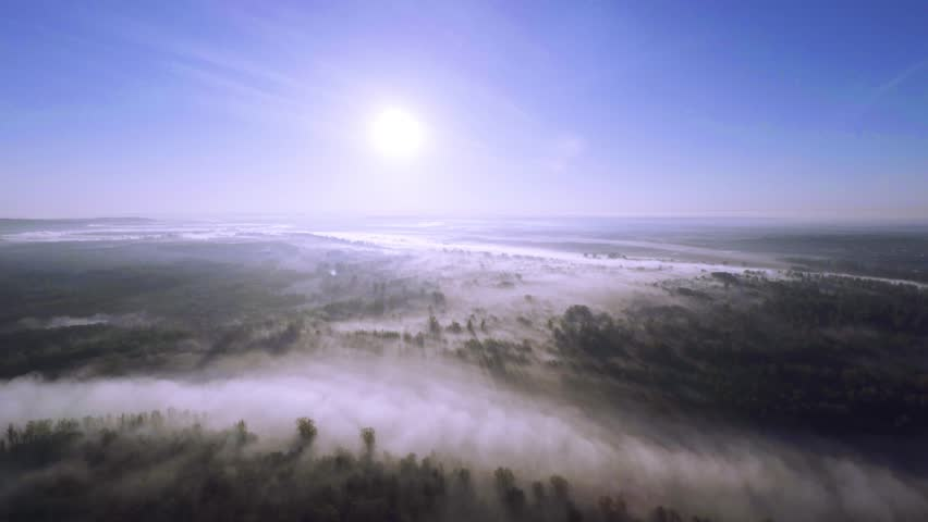 Misty river at dawn - aerial view aerial view for misty river at dawn, spans the river through the trees in the fog | Shutterstock HD Video #20823838
