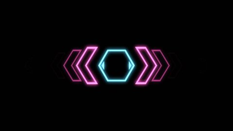 Futuristic screensaver with hex corner. HUD Heads Up Display Scanner high tech target digital read out. Abstract digital background with geometric particles. Seamless loop