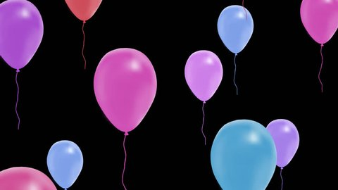 multi-colored balloons fly on top, alpha channel