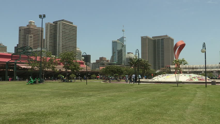 Wide shot of park in the heart of Durban city