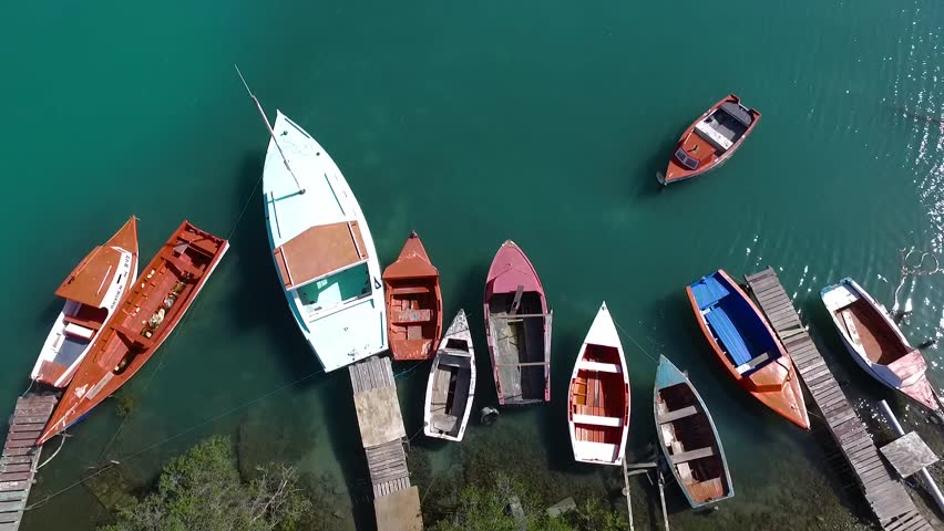Aerial overview shot of fishing boats at Spanish Water in Curacao