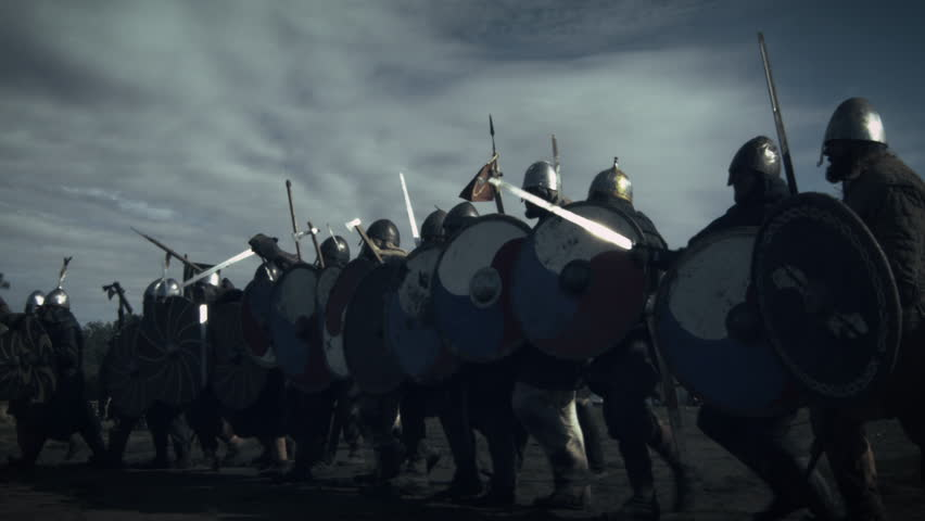 Advancing Army of Viking Warriors. Medieval Reenactment. Shot on RED Cinema Camera in 4K (UHD).