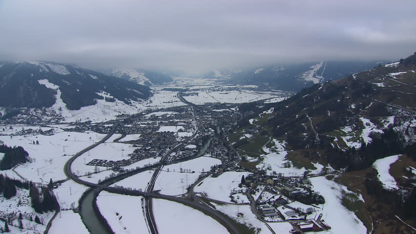 WS AERIAL Town in snow covered mountains of East Tyrol / Austria (February, 2016- Austria) | Shutterstock HD Video #20956408