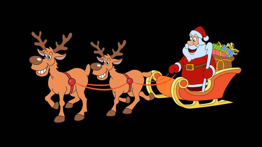 christmas sleigh with 2 reindeer and santa claus 25 fps 4k stock video clip - Christmas Pictures With Santa 2