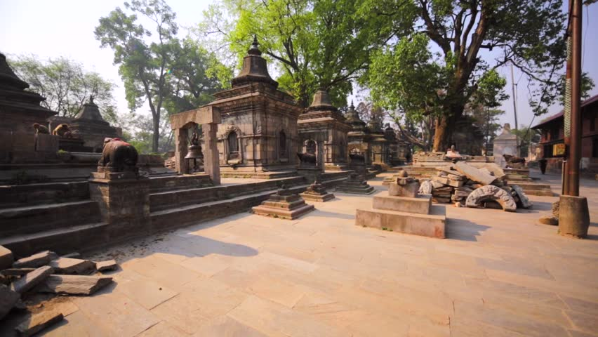 The Pashupatinath Temple with small Shiva temples with lingams. It's a famous, sacred Hindu temple dedicated to Pashupatinath.This complex is on UNESCO World Heritage Sites's list Since 1979