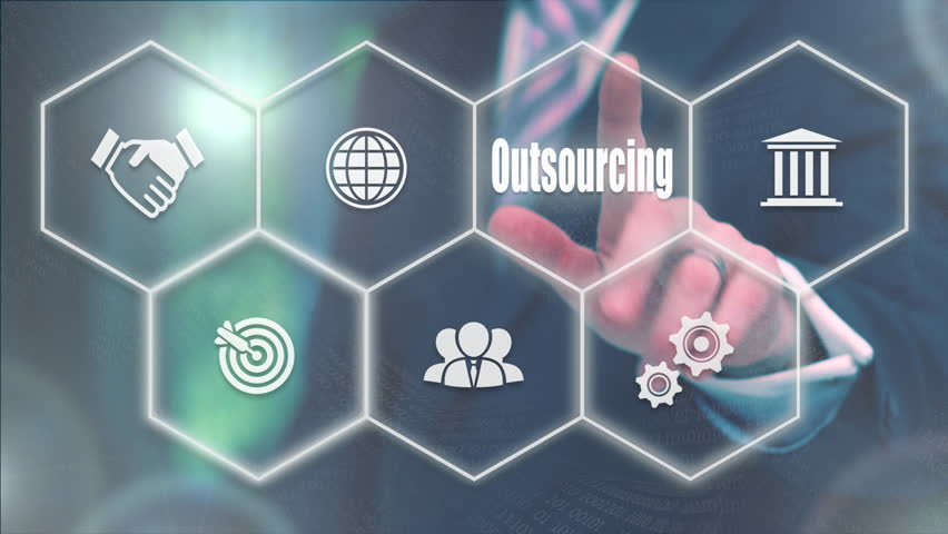 Businessman pressing a Business Outsourcing concept