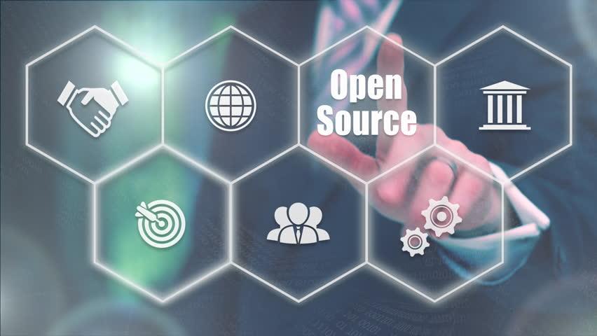 Businessman pressing a Business Open Source concept | Shutterstock HD Video #20992738