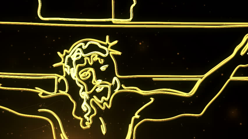 yellow glowing Jesus Christ on cross being drawn on screen by light streak.