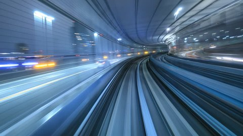 4K Time lapse of automatic train moving to tunnel, Tokyo, Japan