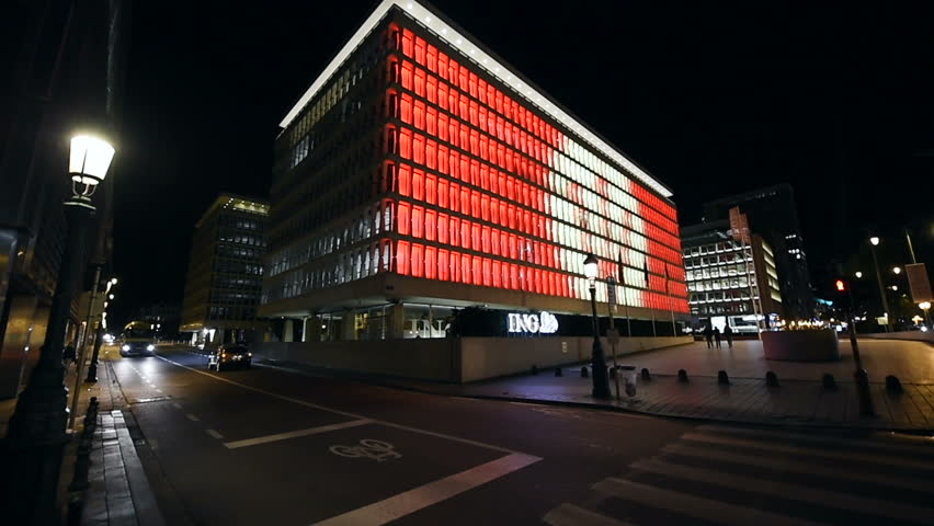 Brussels Belgium Circa 2016 Ing Bank Headquarter In Central Business District Of At Night With Traffic Avenue