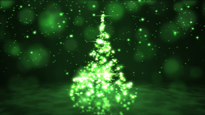 Sparkling Rotating Christmas Tree Animation - Loop Green - 4K stock footage clip
