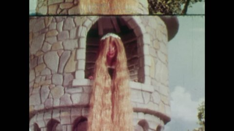 ANIMATED 1950s: Rapunzel's hair magically braids itself and adds two white bows at the end. The witch begins to climb up Rapunzel's hair.