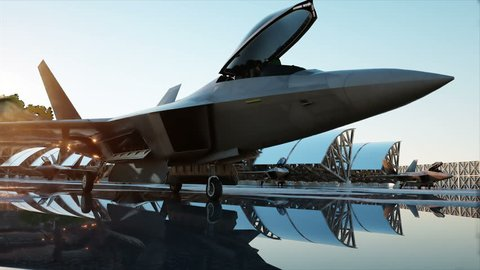 military fighter jet. military base. sunset. 3d animation.