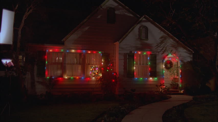 One Story House Christmas Lights.Night Quaint Small Two Story Stock Footage Video 100 Royalty Free 21112888 Shutterstock