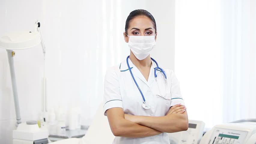 Video Of Sexy Nurse Wearing Mask On Blue 4K Stock Footage Video 8822851  Shutterstock-9060