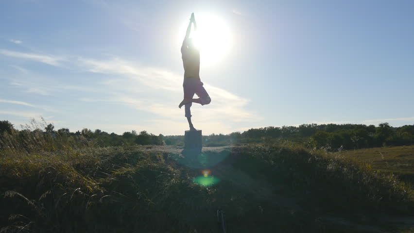 Silhouette of sporty man standing at yoga pose outdoor. Yogi practicing yoga moves and positions in nature. Athlete balancing on one leg. Beautiful sky and sun as background. Healthy active lifestyle #21131068