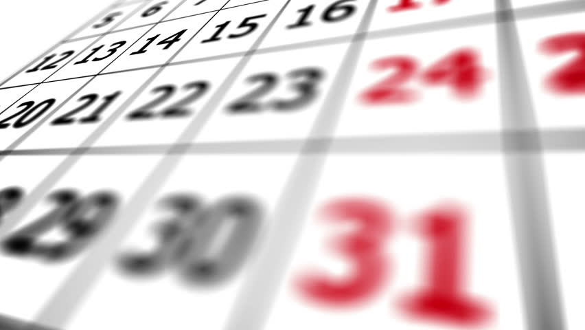 Close up of calendar with date of 31 with follow shallow depth of field.