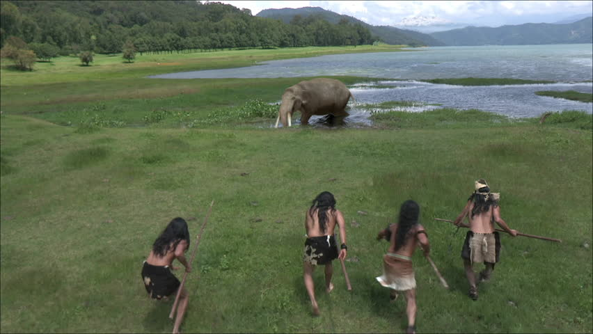 Mammoth baby hunted by humans | Shutterstock HD Video #21186163