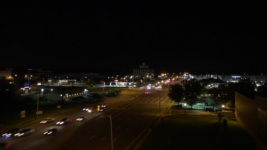 Intersection of Virginia Beach Blvd and Independence Blvd at Town Center in Virginia Beach, Virginia - Time-Lapse Photography at Night