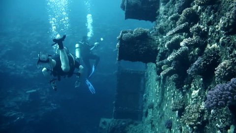 Divers visiting the wreck Giannis D, Red Sea, Sharm el Sheikh, Egypt, Sinai