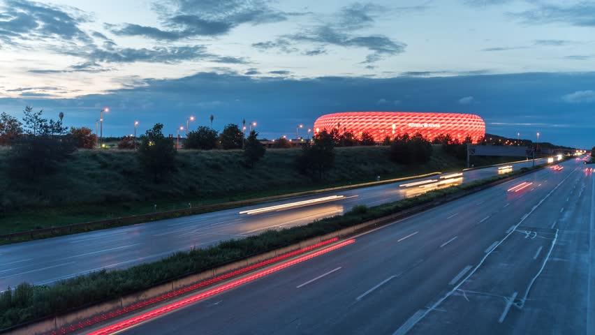 MUNICH, GERMANY - OKTOBER 26: Time-lapse of FC Bayern Allianz Arena, Munich Soccer Stadium OKTOBER 26, 2016 in Munich, Germany.