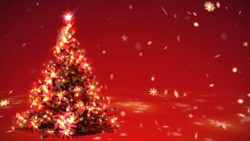 growing christmas tree with surrealistic plasma lights and blizzard of gold snowflakes on a red background - Red Christmas Tree Lights