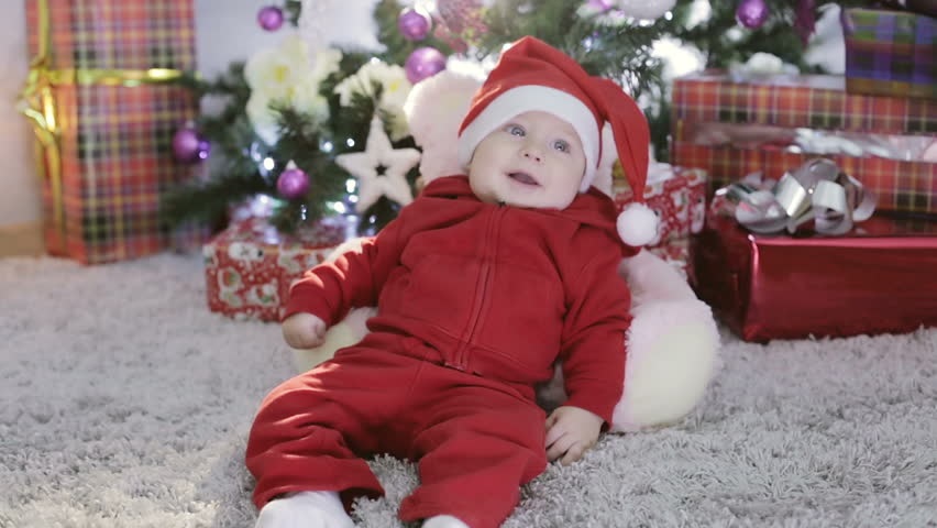 a10fbb30bd27 Baby Boy in Santa Costume Stock Footage Video (100% Royalty-free ...