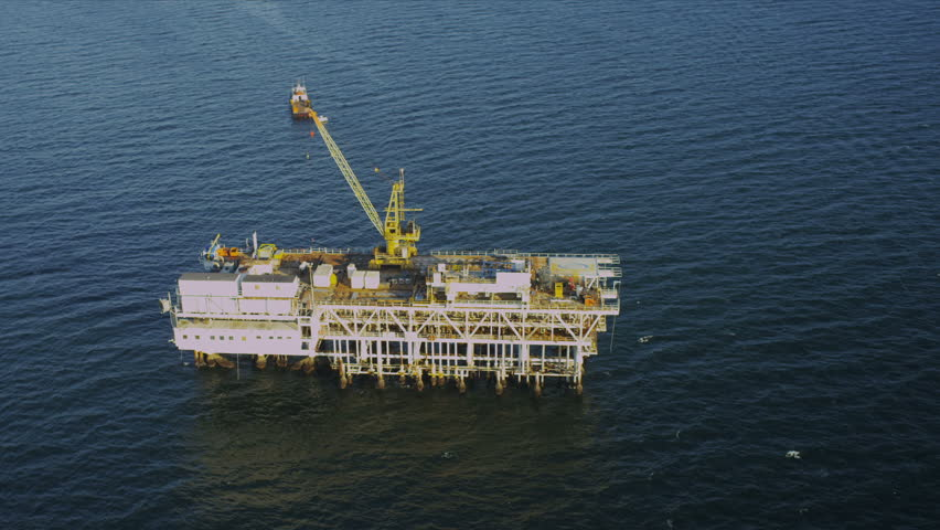 Aerial view of deep ocean oil rig production platform, USA