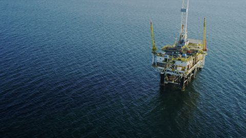 Aerial view of oil production rig deep ocean, Gulf Mexico, America