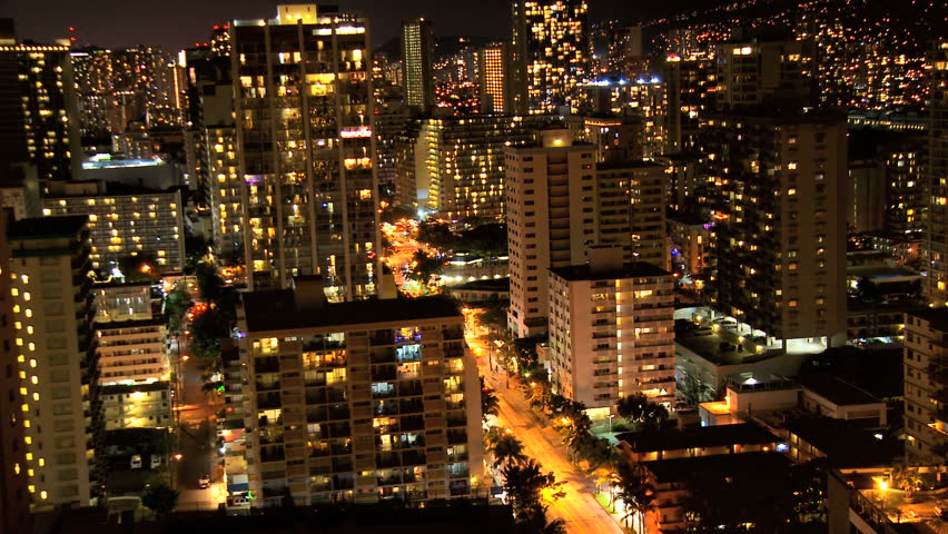 Time lapse lights hotels streets Hawaii night
