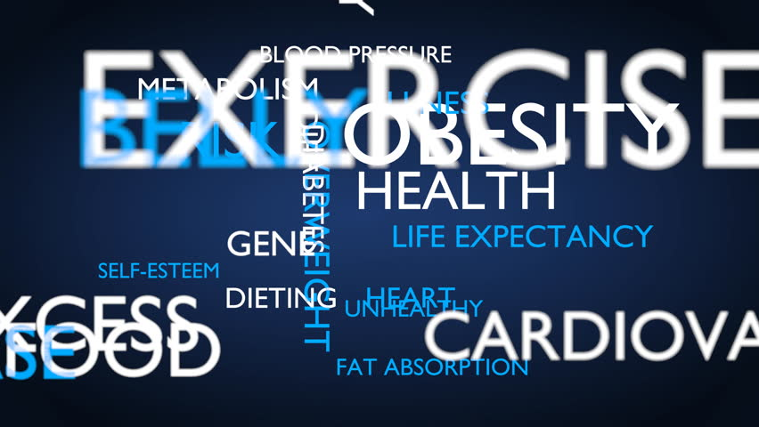 Obesity, risk, health word tag cloud - blue, English variant, 3D rendering, UHD | Shutterstock HD Video #21274339