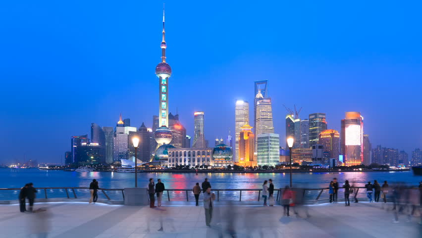 Shanghai Pudong viewed from the Bund, China. Timelapse(Zoom In).   >>> Please search similar: