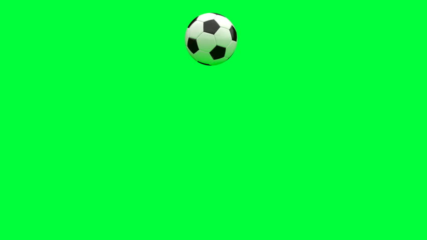 Soccer ball jumping on a chroma key green background.  Can be used in advertising and on television.