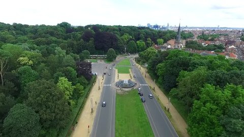 Aerial of road near Ossegempark Park van Laken located in Belgium Brussels where a famous building is located tourist attraction also for tourists visiting and touring through Europe 4k