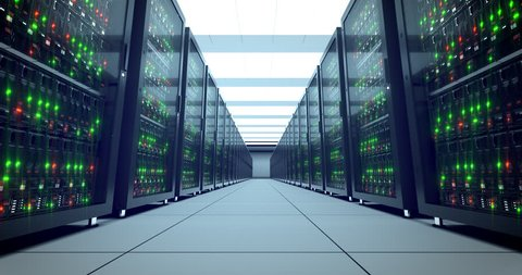 Servers racks.  Modern datacenter. Cloud computing. 4k UHD. Server in datacenter. Cloud computing data storage 3d rendering. 4k animation