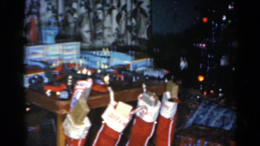 Presents Underneath A 1950's Christmas Tree. Stock Footage Video ...