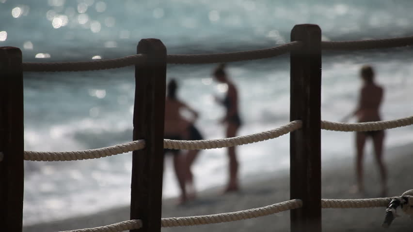 Blurred beach scene