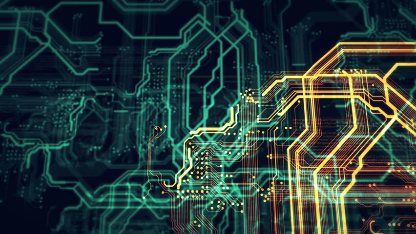 Orange And Green Technology Background Circuit Board And Html Code