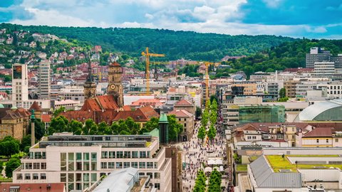 Stuttgart, Germany - June 20, 2016: Stuttgart Königstrasse aerial view showing central historic district with many pedestrians by day in Timelapse