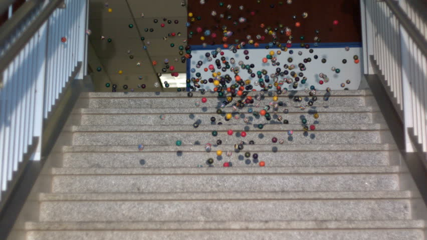 Slow motion bouncy balls swarming down stairs   Shutterstock HD Video #21469039